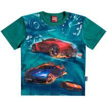 Camisa Masculina Carros Corrida Verde - Kyly -