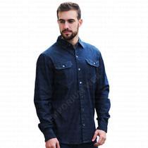 8c62a1cc7fd9 Camisa Masculina Jeans Manga Longa (comprida) - Azul Petróleo - Ewf