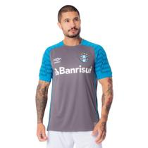 Camisa Masculina Umbro Grêmio Goleiro Oficial 2021 Cinza/Azul -
