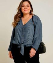 Camisa Plus Size Feminina Jeans Amarração Manga Longa - Cambos Premium