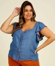 Camisa Plus Size Feminina Jeans Manga Curta - Cambos Premium