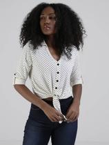 Camisa Poá Manga 3/4 Autentique Feminina Off White -