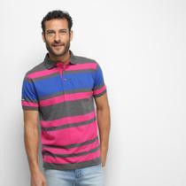 Camisa Polo Aleatory Fio Tinto Multi Listras Masculina -