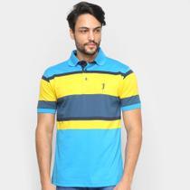 Camisa Polo Aleatory Listrada Botões Masculina -