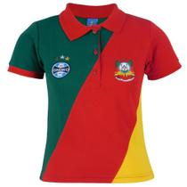 Camisa Polo Feminina Escudo Grêmio Torcida Cores Tricolor -