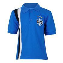Camisa Polo Infantil Manga Curta Escudo Grêmio Tricolor -