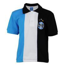 Camisa Polo Juvenil Escudo Grêmio Torcida Cores Tricolor -