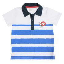 d4b8c0929 Camisa Polo Manga Curta - Branco e Azul Marinho - Mickey Mouse - Disney