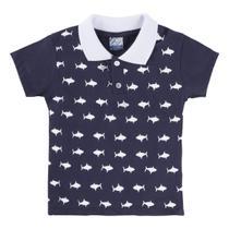 Camisa Polo Manga Curta Estampa Tubarão Menino - Caramelo