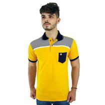 Camisa Polo Masculina Blitz Amarela Com Listras e Bolso -