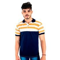 Camisa Polo Masculina Blitz Azul Com Listras Bege e Caramelo -