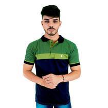 Camisa Polo Masculina Blitz Listrada Azul com Verde -