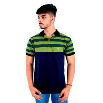 Camisa Polo Masculina Blitz Listrada Verde Com Marinho -