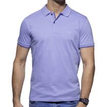 Camisa Polo Richards Roxa com Marinho na Gola