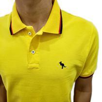 Camisa Polo Salth Amarelo Friso Vermelho e Preto -