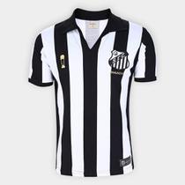 Camisa Santos 1963 Bi Mundial Listrada Retrô Mania Masculina - Retrômania