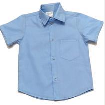 Camisa Social Azul Clara Manga Curta Infantil Menino Criança - By Lelekes