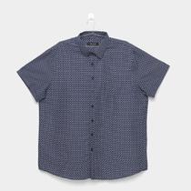 Camisa Social Delkor Plus Size Estampada Manga Curta Masculina -