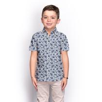 Camisa Social Infantil Menino Manga Curta Floral Casual - Teodoro Camisaria