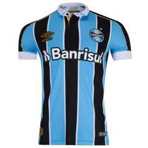 Camisa Umbro Grêmio I 2019 Plus Size Masculina (Classic S/N) - Azul e Preto -