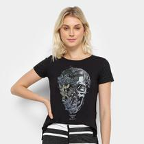 Camiseta Acostamento Caveira Floral Feminina -