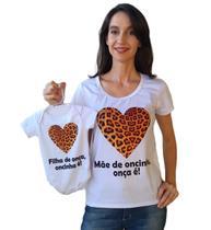 Camiseta adulta mãe de oncinha e body de bebê filha de onça mãe e filha - Calupa