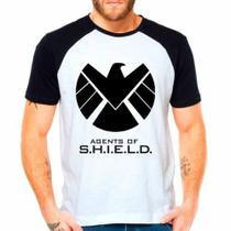 Camiseta Agents Of Shield Marvel Raglan Manga Curta - Eanime