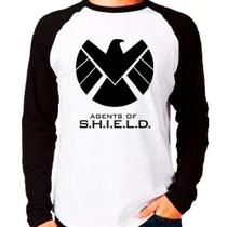 Camiseta Agents Of Shield Marvel Raglan Manga Longa - Eanime