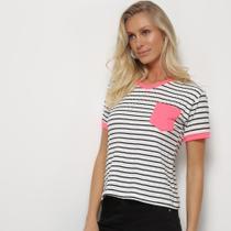 Camiseta Aura Listrada Manga Curta Feminina -