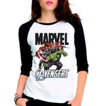 Camiseta Avengers Marvel Hulk Iron Man Raglan Babylook 3/4 - Eanime