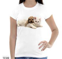 Camiseta Baby Look Cãozinho Gatinho Filhotes Fofos - Dias no Estilo