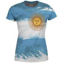 Camiseta Baby Look Feminina Bandeira Argentina Md01 - Over Fame
