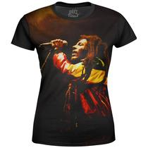 Camiseta Baby Look Feminina Bob Marley Estampa Digital md01 - Over fame