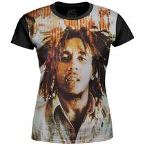 Camiseta Baby Look Feminina Bob Marley Estampa Digital md02 - Over fame