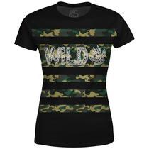 Camiseta Baby Look Feminina Camuflada Wild Md04 - Over Fame