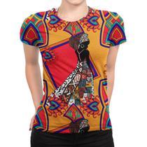 Camiseta Baby Look Feminina Estampa Africana Total Print - Over Fame