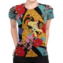 Camiseta Baby Look Feminina Gueixa Estampa Total - Over Fame