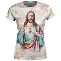 Camiseta Baby Look Feminina  Jesus Cristo Floral Md03 - Over Fame