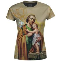 Camiseta Baby Look Feminina São José Floral - Over Fame