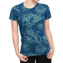 Camiseta Baby Look Feminina Sereia E Plantas Marinhas - Over Fame