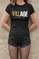 Camiseta Baby Look Resident Evil Village Feminino Preto - Mikonos