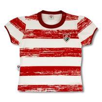 Camiseta baby look revedor fluminense listras craqueladas menina branco grená e verde -