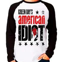 Camiseta Banda Green Day American Idiot Raglan Manga Longa - Eanime
