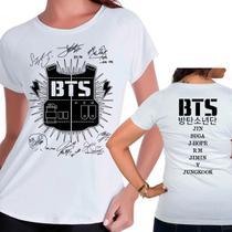 Camiseta Bangtan Boys Bts Autografos Kpop Babylook Feminino - Eanime