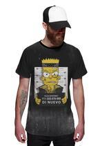 Camiseta Bart Simpsons Preso Preta Masculina - Di Nuevo