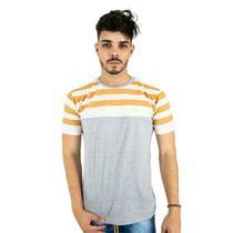 Camiseta Básica Masculina Cinza Listrada Blitz -