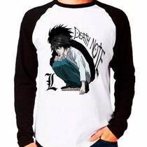 Camiseta Blusa Death Note L Anime Raglan Manga Longa - Eanime