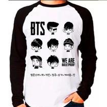 Camiseta Blusa Raglan Longa Kpop Bangtan Boys Bts Caricatura - Eanime