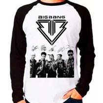 Camiseta Blusa Raglan Longa Kpop Bigbang Team Autografos - Eanime