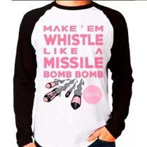 Camiseta Blusa Raglan Longa Kpop Blackpink Missele Bomb Bomb - Eanime